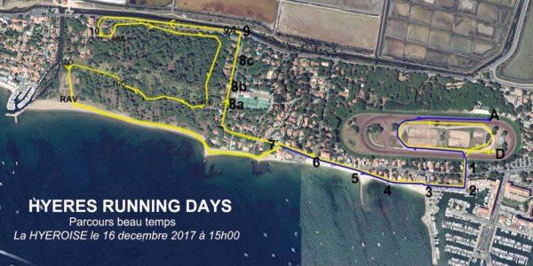 Parcours la Hyèroise beau temps hyères running days